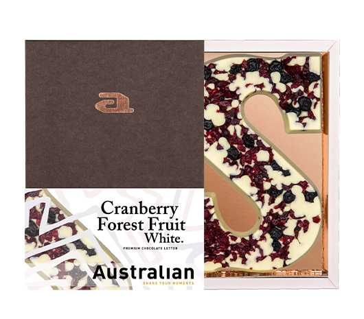 Chocolate letter white cranberry forest fruit