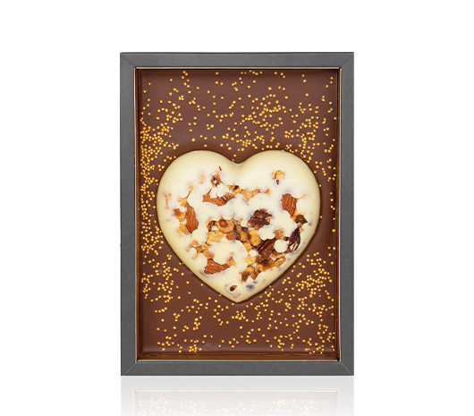 Chocolate heart tablet nuts milk