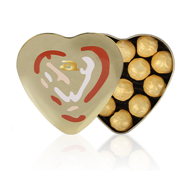Chocolates gold heart steelbox